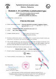 Certifikát přezkoušení typu FTZÚ 04 ATEX 0245 (typ PPO)