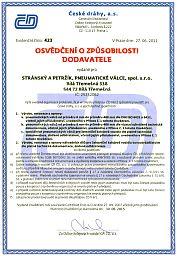 Certifikát technické způsobilosti dodavatele ČD